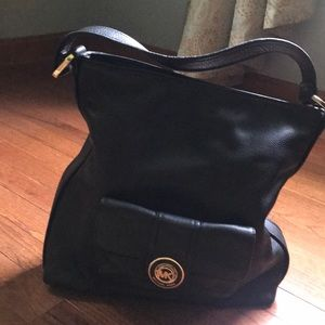 Michael Kors black pebble leather handbag